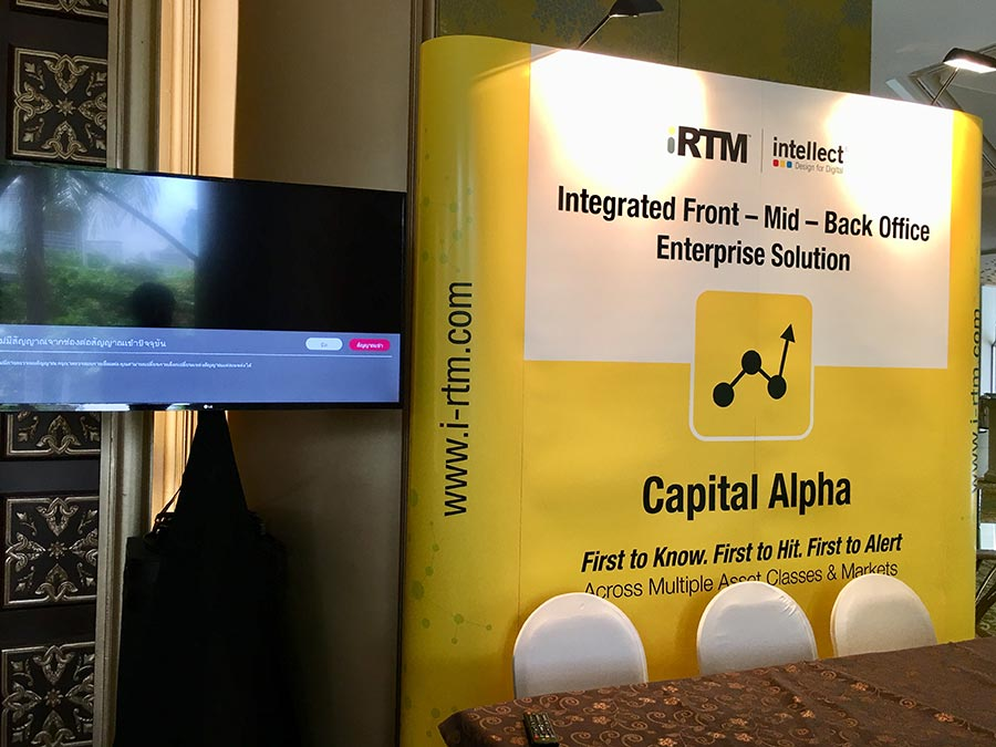 Rental 2x3 backdrop popup display & LCD LED screen for half-day event © Pixel Planet Design