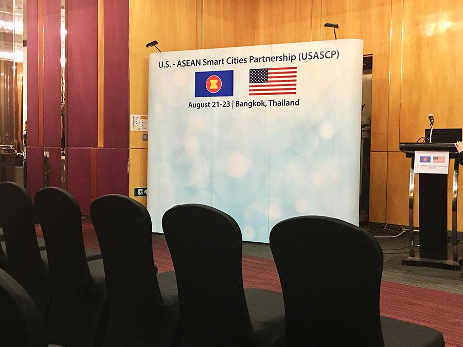 Backdrop display for international conference © Pixel Planet Design