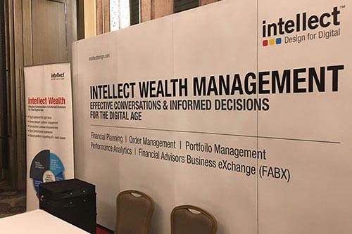 Backdrop and rollup display for financial conference in Bangkok © Pixel Planet Design
